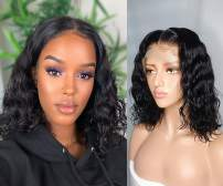 Hibaby Hair 360 Lace Frontal Wigs Human Hair Wigs Wet and Wavy Baby Hair Pre Plucked Glueless Lace Wigs Short Bob Wigs For Black Women (14 inch with 180% density)