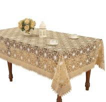 Simhomsen Beige Embroidered Lace Tablecloth 60 × 120 Inch Rectangle