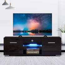 High Gloss TV Stand with LED Lights, Modern TV Stand for 50 in TV Console Storage Cabinet with 2 Drawers for Living Room (Black)
