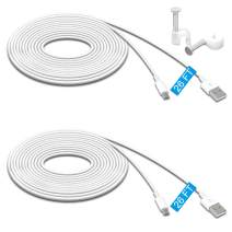 2 Pack 26FT Power Extension Cable for Wyze Cam Pan,WyzeCam,Kasa Cam.YI Dome Home Camera,Furbo Dog,Nest Cam,Oculus Go,Netvue, Durable Charging and Data Sync Cord for Home Security Camera