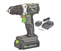 """Genesis GLCD2038A 20V Lithium-ion Battery-Powered Cordless Variable Speed Drill Driver with 3/8"""" Chuck, Built-In LED Work Light, 20V Battery, Charger and Double-Ended Screwdriver Bit, Grey/Black/Green"""