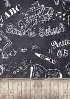 AOFOTO 5x7ft Back to School Blackboard Photography Background Hand Drawn Chalkboard with Wooden Plank Floor Backdrop Boy Girl Child Students Kid Portrait Photoshoot Studio Props Video Drape Vinyl