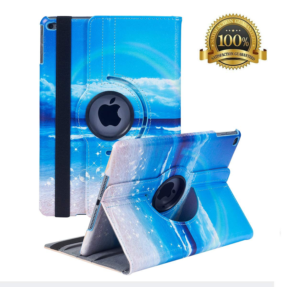 """Hsxfl New iPad 9.7 inch 2018 2017/ iPad Air Case - 360 Degree Rotating Stand Smart Cover Case with Auto Sleep Wake for Apple iPad 9.7"""" (6th Gen, 5th Gen)/iPad Air(Seagulls)"""