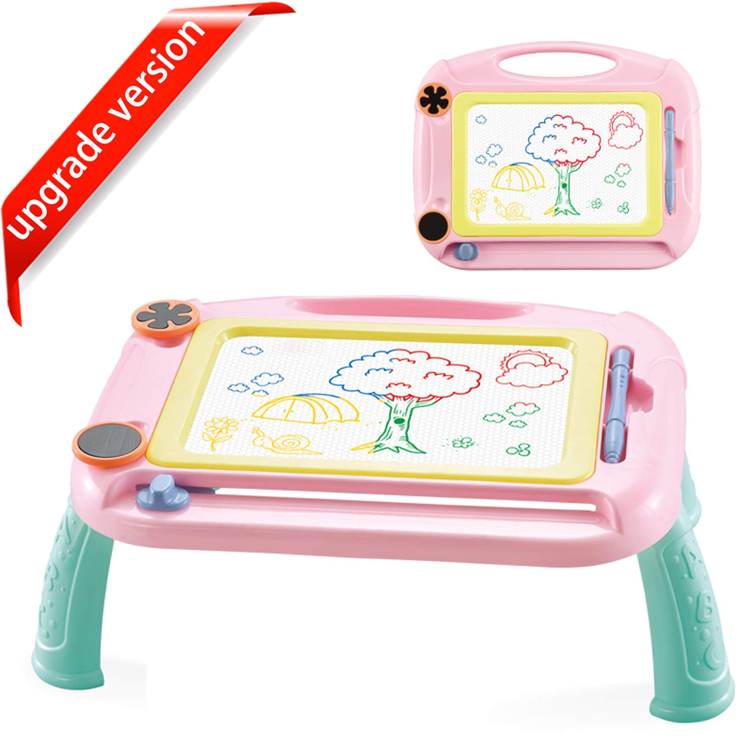 URUNIQ Magnetic Drawing Board Toy for Kids, Large Doodle Board Writing Painting Sketch Pad (Pink-2)