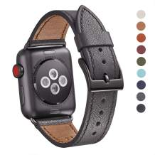 WFEAGL Compatible iWatch Band 38mm 40mm, Top Grain Leather Band Replacement Strap for iWatch Series 5,Series 4,Series 3,Series 2,Series 1,Sport, Edition (Dark Space Grey Band+Black Adapter,38mm 40mm)