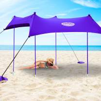 UMARDOO Family Beach Sunshade with 4 Sand Anchors,4 Aluminum Poles & Carring Bag,UPF 50+