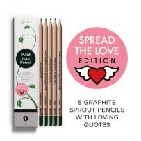 Sprout Pencils Spread the Love Edition Box   5 Pack   Plantable Graphite Pencils to plant   in eco-friendly wood   Gift Set with heart - warming quotes together with flower and herb seeds