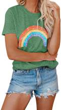 CCBSTS Womens Short Sleeve Rainbow T Shirts Crew Neck Cute Graphic Tees Summer Casual Tops