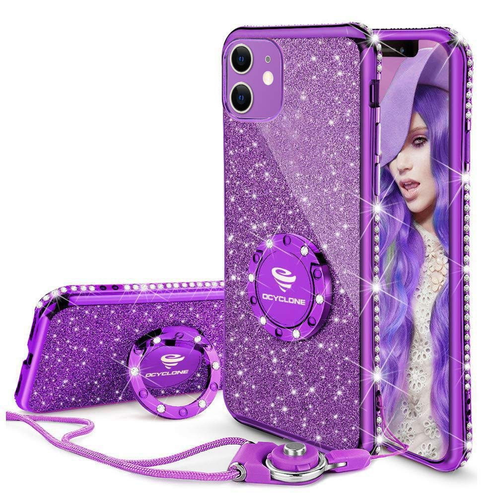 OCYCLONE Cute iPhone 11 Case, Glitter Luxury Bling Diamond Rhinestone Bumper with Ring Grip Kickstand Protective Thin Girly Pink iPhone 11 Case for Women Girl [6.1 inch] 2019 - Purple