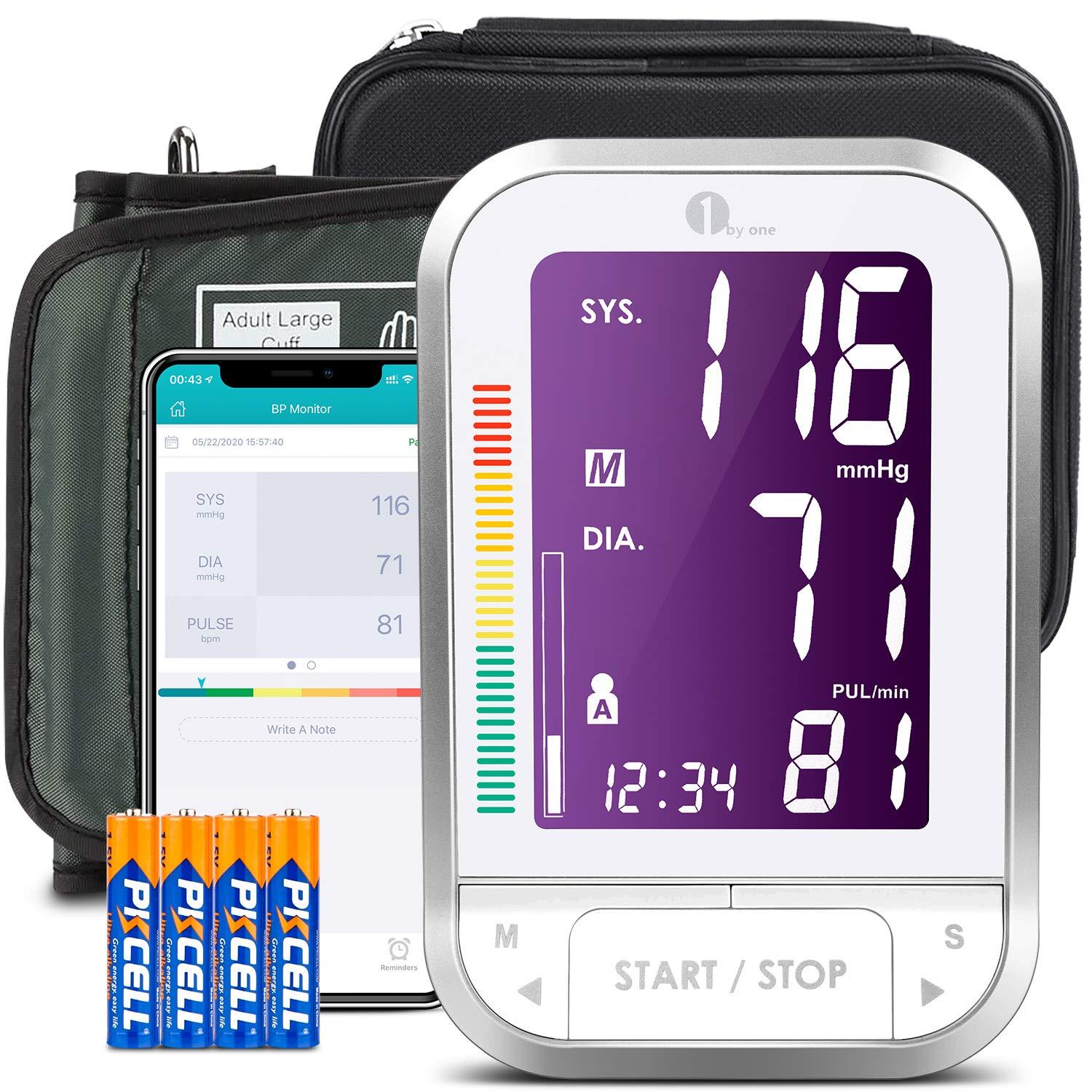 1byone Bluetooth Blood Pressure Monitor with Cuff for Home Use, Automatic Digital BP Monitor Upper Arm Pressure Machine, 120 Groups Memory, 4.7 inch Display, Cloud Storage, Batteries Included