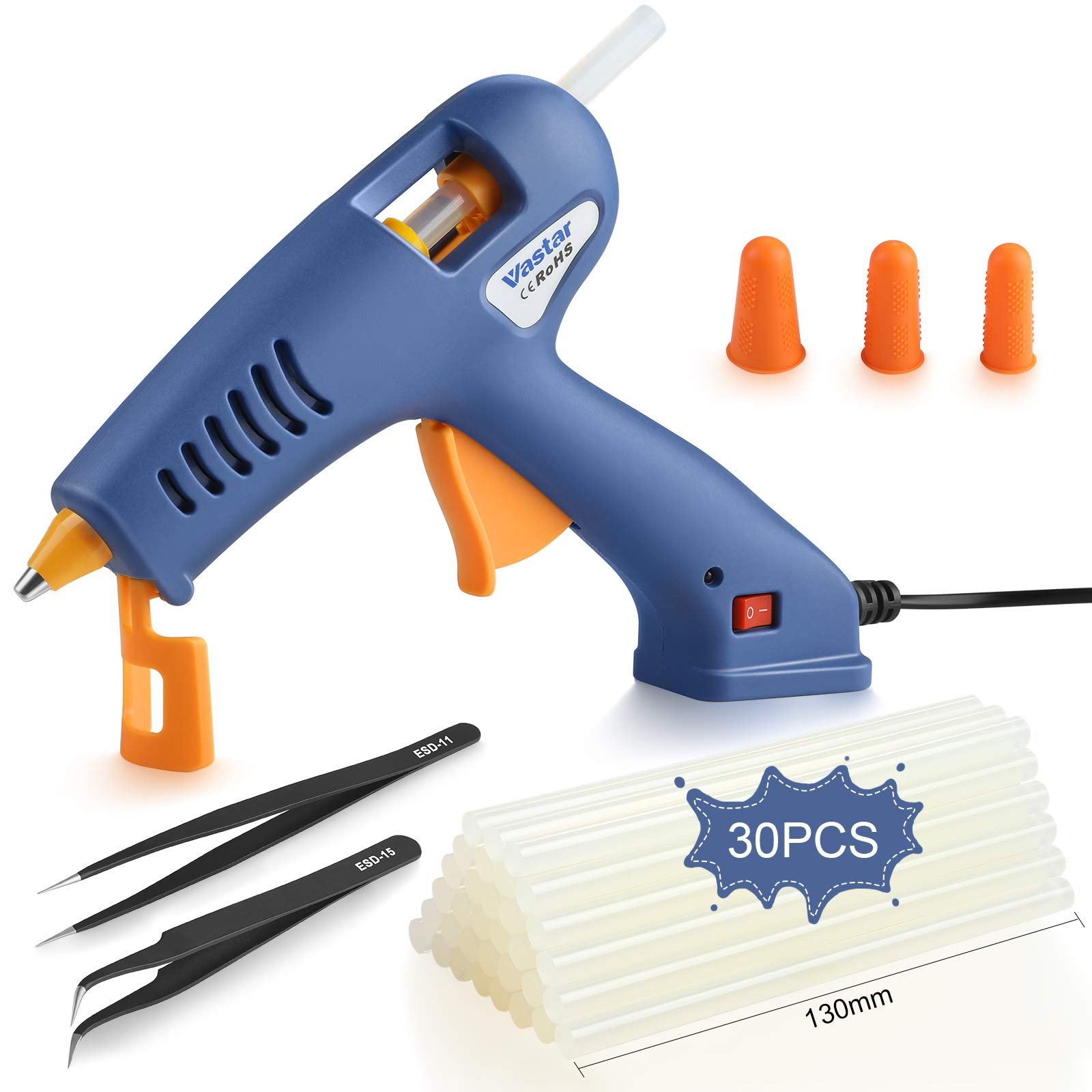 Vastar Hot Glue Gun 6 in 1-with Tweezers,Glue Sticks and Finger Cots,Fast Heating 329°F/165°C Drip-Proof Glue Gun Kit,Used for Artwork, Crafts,Sealing,DIY,Home Maintenance,Cards,Glass(60W)