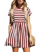Naggoo Womens Summer Striped Short Sleeve T-Shirt Dresses Casual Swing Aline Dresses with Pocket