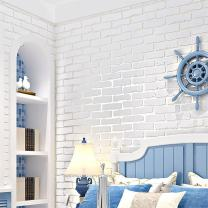N.SunForest White 3D Elasticity Self-Adhesive Peel and Stick Brick Grain Non-Woven Fabric Wallpaper Home Living Room Bedroom Baby Nursery Wall Decor Art Murals
