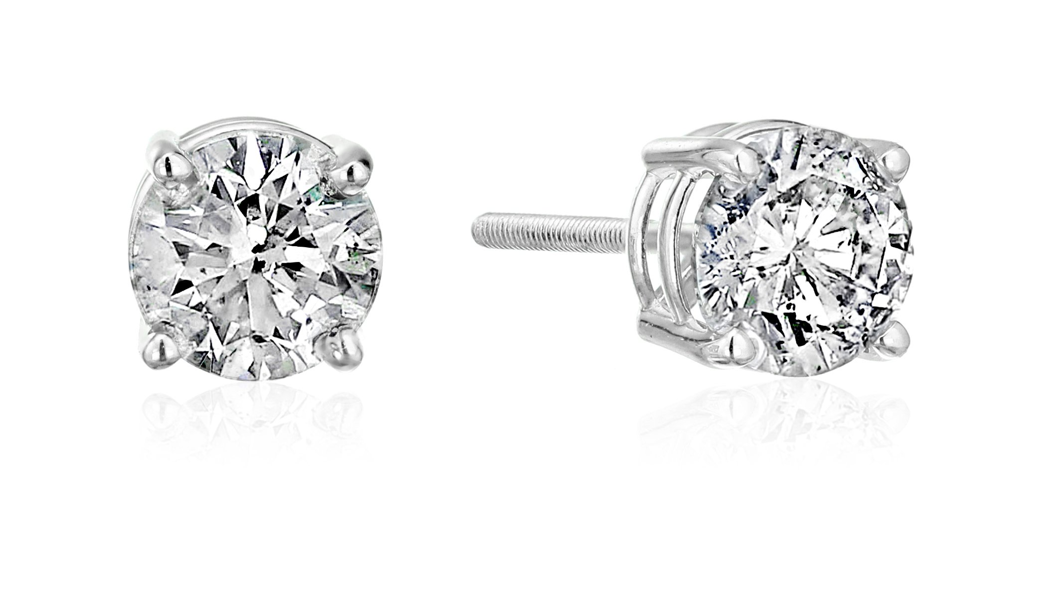 The Diamond Channel AGS Certified Diamond Earrings For Women in 14K Gold with Screw Back and Post Studs (J-K Color, I2 Clarity), Choice of Carat Weights