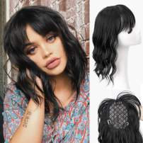 AISI BEAUTY Curly Wavy Hair Topper with Bangs Clip in Synthetic Hair Toupee for Women 14 inches Curly Wiglets Hairpieces for Thinning Hair Gray Hair