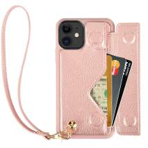 iPhone 11 Case, iPhone 11 Wallet Case, ZVEdeng iPhone 11 Case with Card Holder Wrist Strap, Shockproof Leather Credit Card Case with Magnetic Flip Handbag Purse for iPhone 11, 6.1 Inch-Rose Gold
