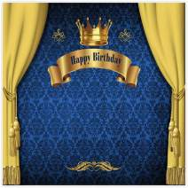 Allenjoy 8x8ft Royal Prince Backdrop King Gold Curtain Background Baby Shower Happy Birthday Party Cake Dessert Table Decor Decoation Banner Photo Booth