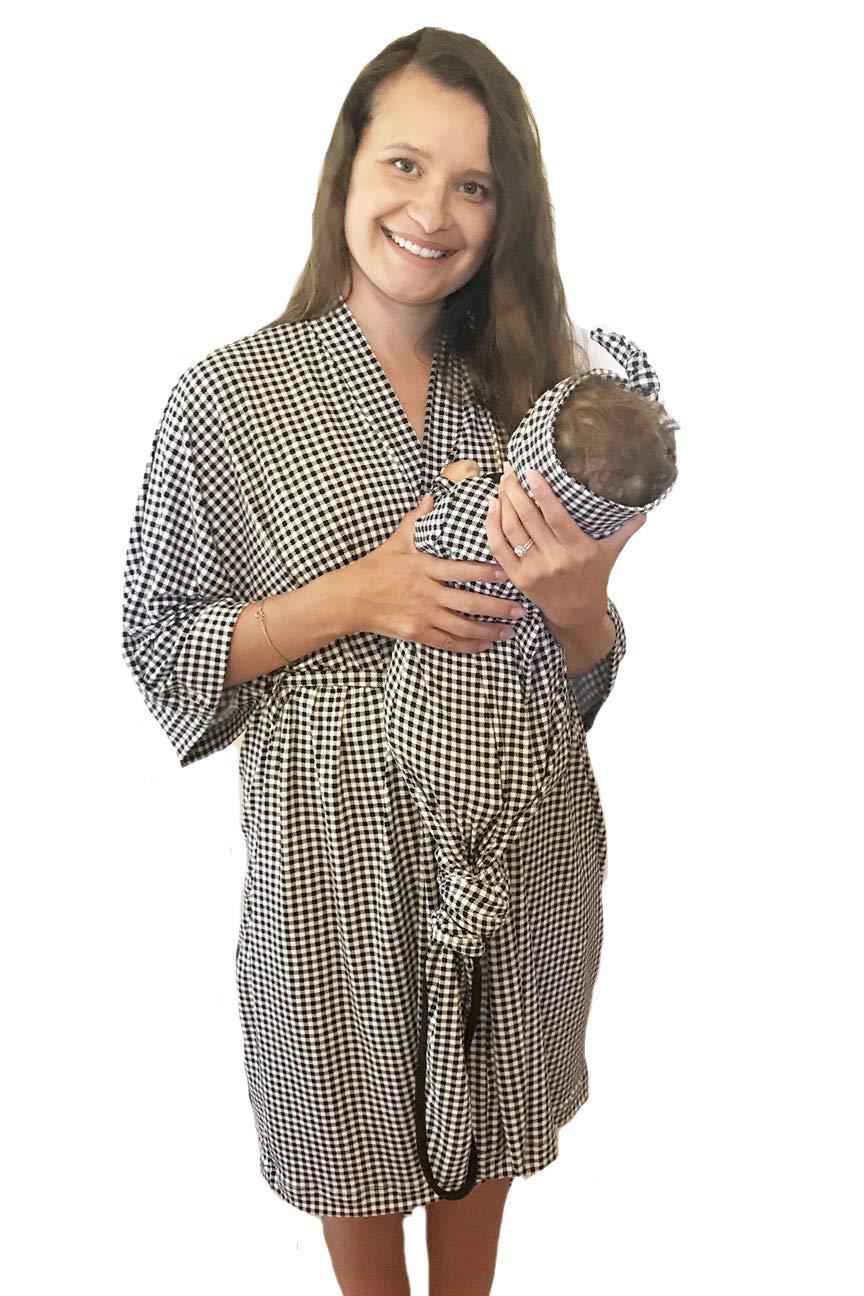 Aspen Lane Maternity Matching Labor Delivery Robe Swaddle Blanket Set Hospital Bag (Black Gingham Buffalo Check, L/XL) Mom, Baby