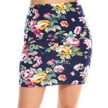 Fashionazzle Women's Casual Stretchy Bodycon Pencil Mini Skirt (Medium, KS05-#162 Navy)