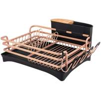 BRIAN & DANY Aluminum Dish Drying Rack,Never Rust Dish Rack with Removable Cutlery Holder &Cup Holder,Unique 360° Swivel Spout Drain Board,Gold