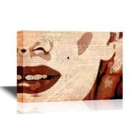 wall26 - Canvas Wall Art - Marilyn Monroe Painting with Vintage Newpaper Background - Gallery Wrap Modern Home Decor | Ready to Hang - 32x48 inches