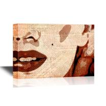 wall26 - Canvas Wall Art - Marilyn Monroe Painting with Vintage Newpaper Background - Gallery Wrap Modern Home Decor   Ready to Hang - 32x48 inches