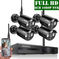 【2020 Update】 OOSSXX HD 1080P 8-Channel Wireless Security Camera System,4 pcs 1080P 2.0 Megapixel Wireless Weatherproof Bullet IP Cameras,Plug Play,70FT Night Vision,P2P,App, No Hard Drive