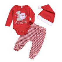 Baby Boy Girl Christmas Outfits My 1st Christmas Santa Claus Romper Top +Stripe Pants+Christmas Hat 3PCS Baby Clothing Set