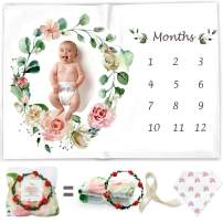 Baby Monthly Milestone Blanket for Girl & Boy - Floral Plush Fleece for Baby Photo – Baby Shower/Registry Gift – Baby Safe Soft Wrinkle Free - Swaddle and Throw - Bonus Wreath + Organic Cotton Bib
