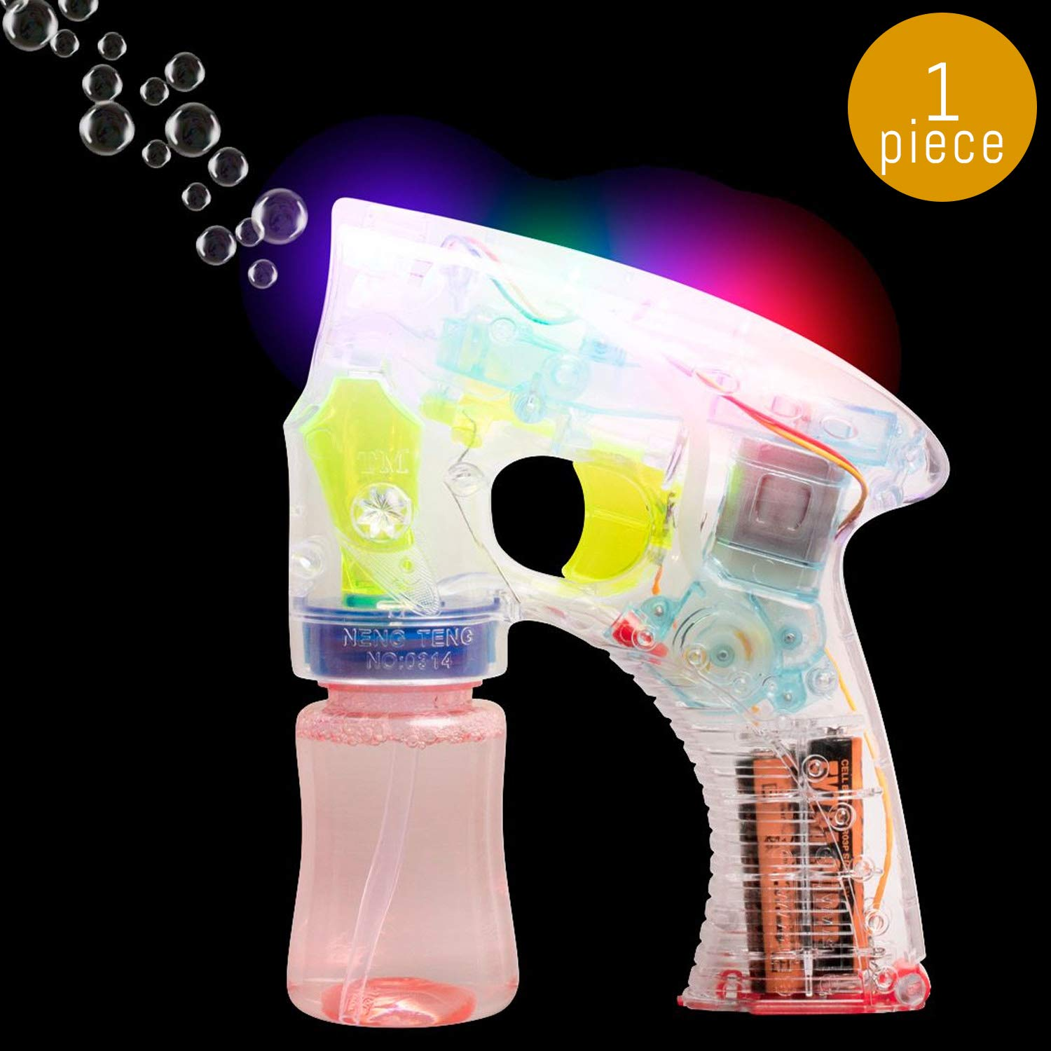 Lumistick Light-Up Bubble Blaster Gun | Transparent Glowing LED Blower Machine | Ultra Bright Glinting Air Bubbles Wand | Gleaming Summer Games Toy (1 Gun)