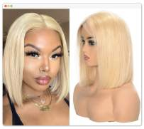 613 Blonde Lace Front Human Hair Bob Wigs T Part Short Straight With Baby Hair for Black Women 150% Density 8 Inch