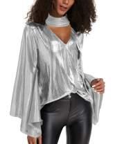 YOINS Sequin Sparkle Metallic Tops for Women Sexy V Neck Lantern Sleeves Shirt Party Club Blouse