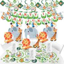 Big Dot of Happiness Jungle Party Animals - Safari Zoo Animal Birthday Party or Baby Shower Supplies - Banner Decoration Kit - Fundle Bundle