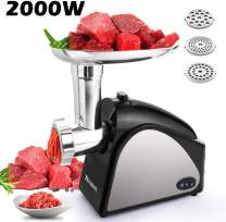Electric Meat Grinder, Stainless Steel Sausage Mincer with 3 Grinding Plates and Sausage Stuffing Tubes for Home Use &Commercial(2000W Max)