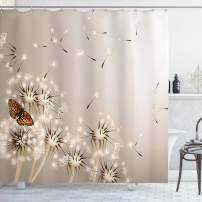 "Lunarable Dandelion Shower Curtain, Realistic Design 3D Technique of Blow a Wish Flower and a Flying Butterfly Image, Cloth Fabric Bathroom Decor Set with Hooks, 75"" Long, Pale Sepia"