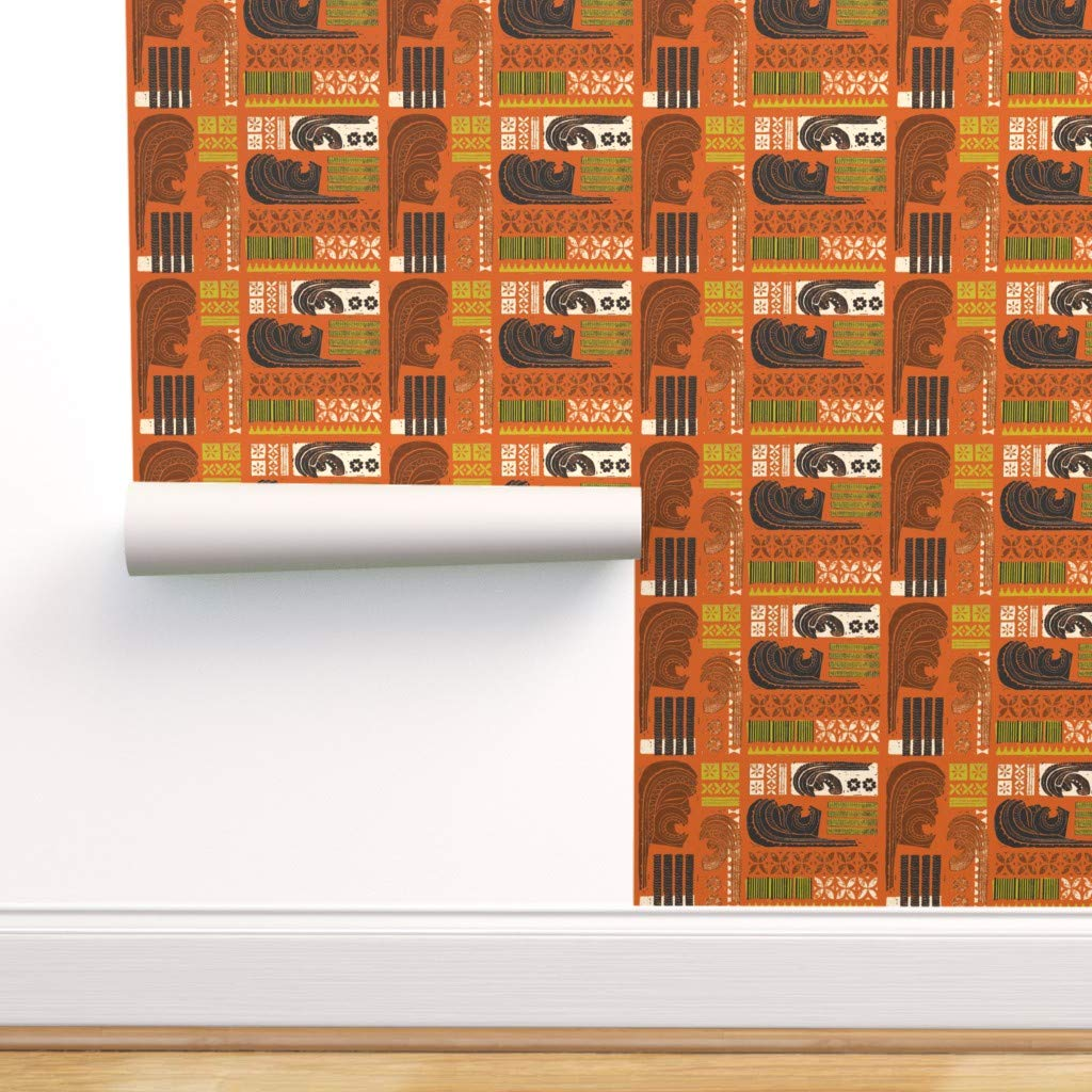 Removable Water-Activated Wallpaper - Island Tiki Hawaii Aloha Tropical Beach Mid Century by Muhlenkott - 24in x 72in Smooth Textured Water-Activated Wallpaper Roll