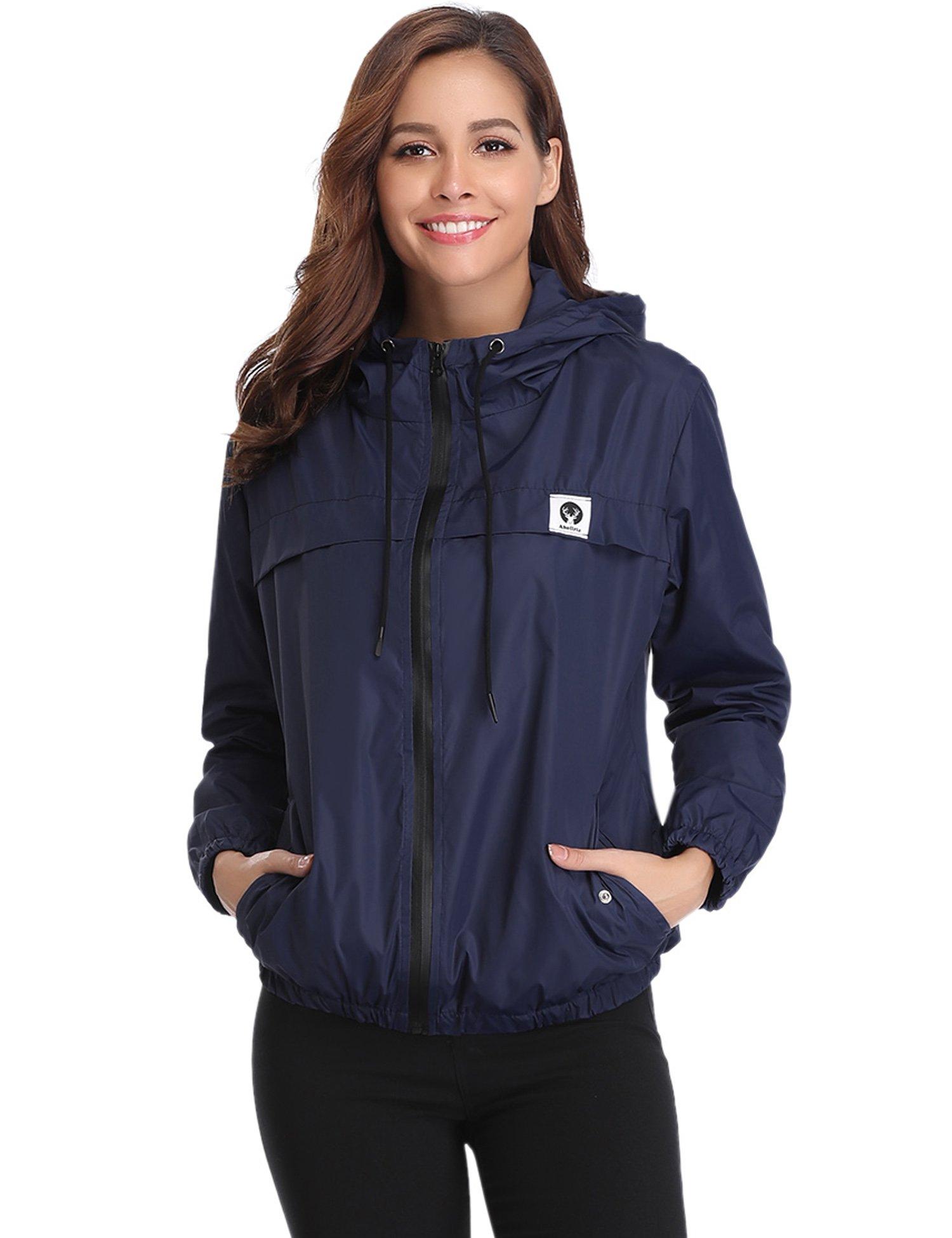Abollria Raincoats Waterproof Lightweight Rain Jacket Active Outdoor Hooded Women's Trench Coats