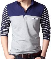 sandbank Men's Casual Polo Shirt Striped Long Sleeve Color Block T Shirts Tee