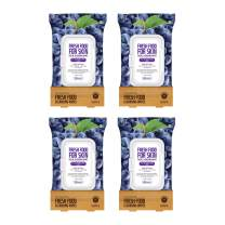 FARMSKIN Freshfood For Skin Facial Cleansing Wipes Makeup Daily Remover Grape for Sensitive Skin, 60 count (Pack of 4)