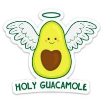 "Stickeroonie Holy Guacamole Vinyl Sticker, Cute & Funny Water Resistant Avocado Sticker, 4"" x 3"" Size"