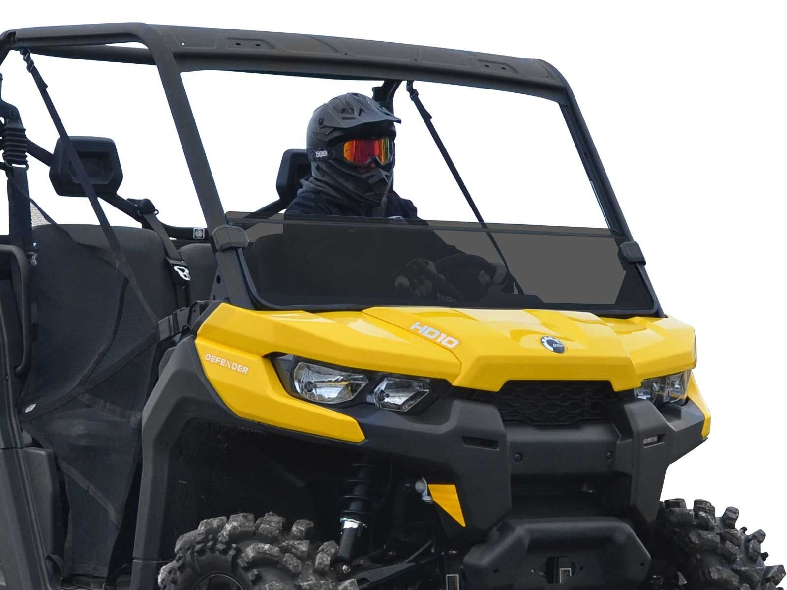 SuperATV Heavy Duty Half Windshield for Can-Am Defender HD 5/8 / 10 / MAX (2016+) - Dark Tinted Non Scratch Resistant Polycarbonate - Easy to Install!