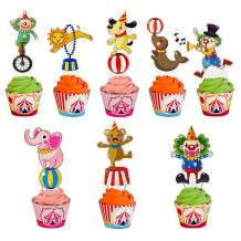 45 Pieces Circus Animal Cupcake Topper for Carnival Themed Kids Birthday Party Favor Decorations