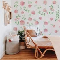 Runtoo Peach Wall Art Decals Fruit Floral Leaves Wall Stickers Bedroom Living Room Kids Nursery Decor