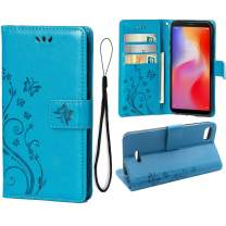 Wallet Case for Xiaomi Redmi 6A {Not for Redmi 6}, 3 Card Holder Embossed Butterfly Flower PU Leather Magnetic Flip Cover for Xiaomi Redmi 6A(Blue)