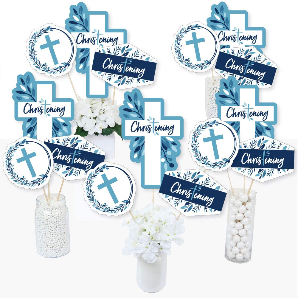 Christening Blue Elegant Cross - Boy Religious Party Centerpiece Sticks - Table Toppers - Set of 15