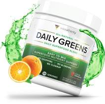 Daily Greens Superfood Powder: Best Tasting Non-GMO Greens Detox Powder with Spirulina, Matcha Green Tea, Barley Grass Juice Powder, Vegan, Orange, 30 SRV
