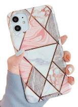 """KERZZIL iPhone 11 Case, Stylish Shiny Rose Gold Glossy Geometric Marble Patterns Design Bumper TPU Protective Phone Case Compatible with iPhone 11 6.1"""" (Pink Grey)"""