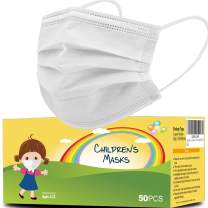 mystcare Kids Disposable Protection Face Mask 50 Pack for Kids 3-Layer Breathable Filter Safety Anti Dust Kids Face Masks(White)