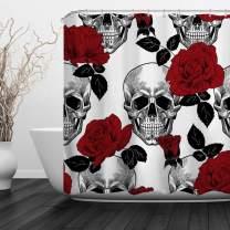 "Baccessor Skulls Shower Curtain Sugar Roes Flowers Skull Skeleton Halloween All Saints Day Black and White Waterproof Bathroom Decor with Hooks,60"" W x 72"" H (150CM x 180CM) - Red Rose Skull"
