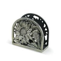 Demdaco Sunflower Summer Floral Silver Toned 6 x 5 Hand-Cast Aluminum Napkin Holder